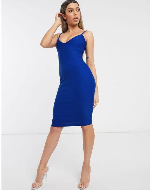 Синее Облегающее Платье Миди -синий Vesper, цвет: Blue