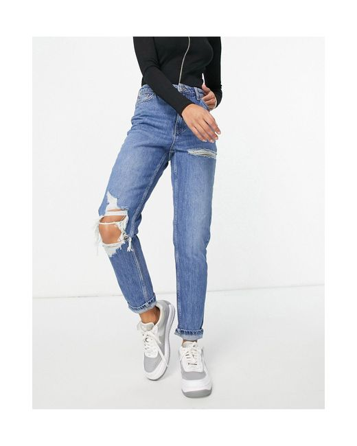 TOPSHOP Blue Mom Jeans With Knee And Thigh Rips