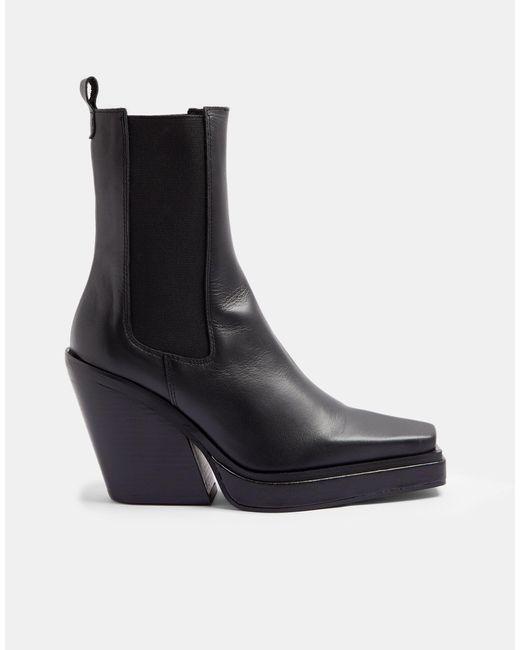 Черные Ботинки Челси На Каблуке С Квадратным Носком В Стиле Вестерн Hero-черный Цвет TOPSHOP, цвет: Black