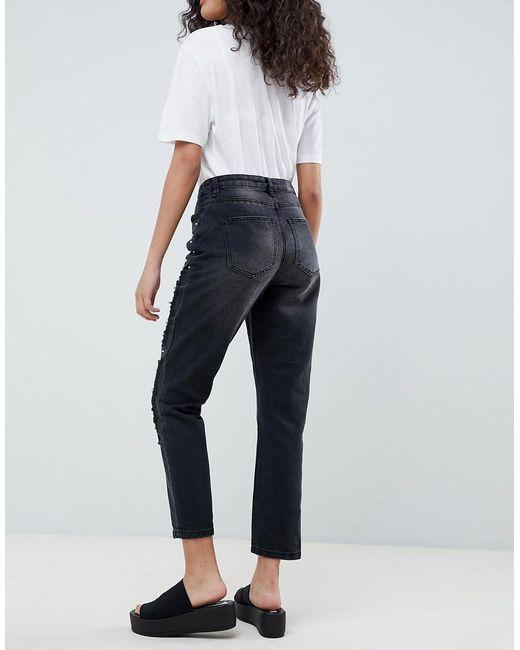 Pearl Embellished Mom Jeans - Black Only GadqBwF