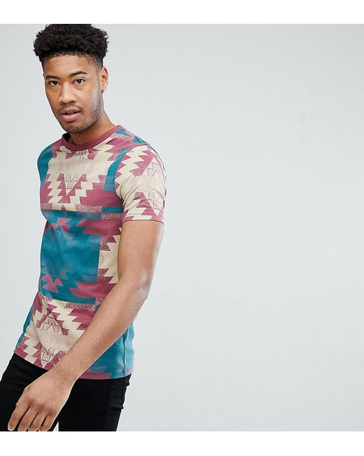 ASOS - Red Design Tall T-shirt With Geo- Print for Men - Lyst