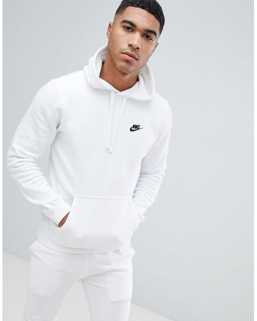 Nike Cotton Tall Pullover Hoodie With Swoosh Logo In White