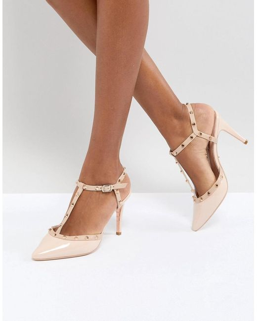 Dune - Pink London Catelyn Leather Studded Heeled Shoes - Lyst