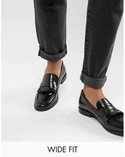 Dune Wide Fit Loafers In Black Hi-shine Leather for men