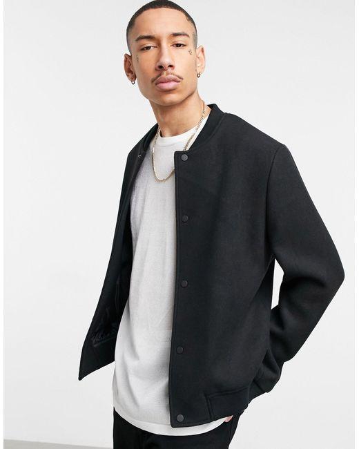 Черная Университетская Куртка С Добавлением Шерсти ASOS для него, цвет: Black