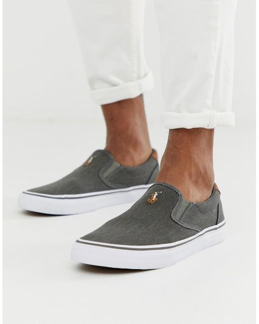 5176e1e847e Polo Ralph Lauren - Thompson Canvas Plimsoll With Multi Player In Washed  Black for Men ...