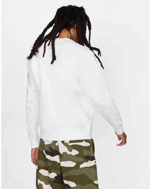 Белый Свитшот С Круглым Вырезом Club Nike для него, цвет: White