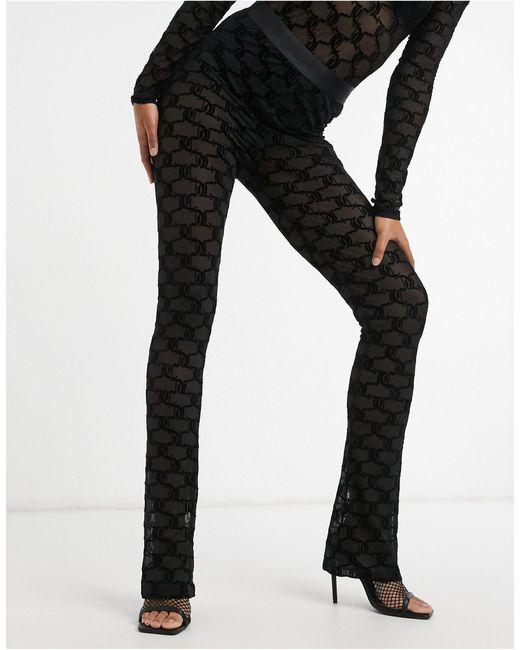Черные Расклешенные Брюки Из Сетки С Флокированным Узором И Логотипом От Комплекта -черный Juicy Couture, цвет: Black