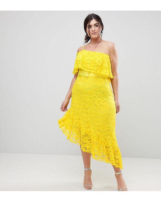 956f5b445979 ASOS - Yellow One Shoulder Asymmetric Lace Midi Skater Dress With Belt -  Lyst ...