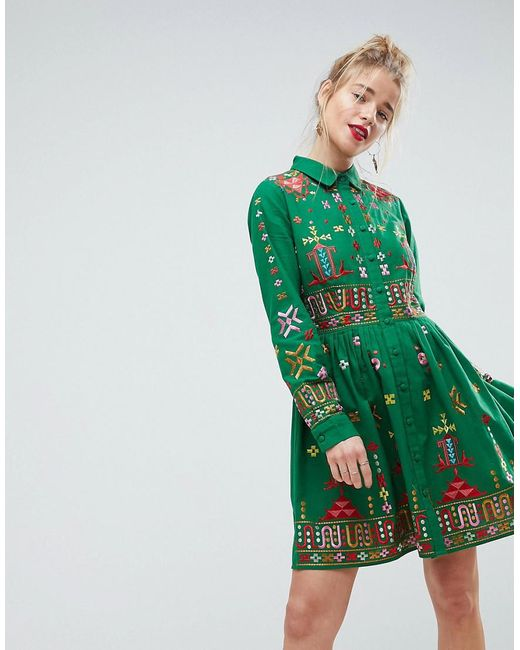 ASOS - Green Premium Aztec Mini Embroidered Skater Shirt Dress - Lyst