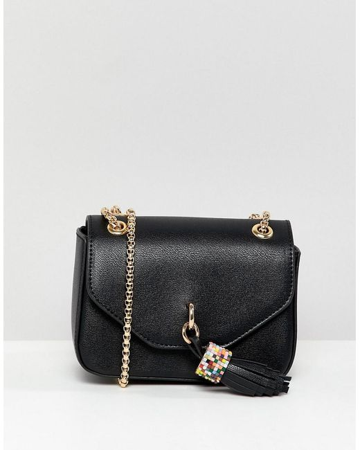 Dune - Black Evening Bag With Tassel Detail And Chain Strap - Lyst