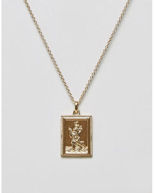 ASOS - Metallic Vintage Style St. Christopher Rectangle Tag Necklace - Lyst