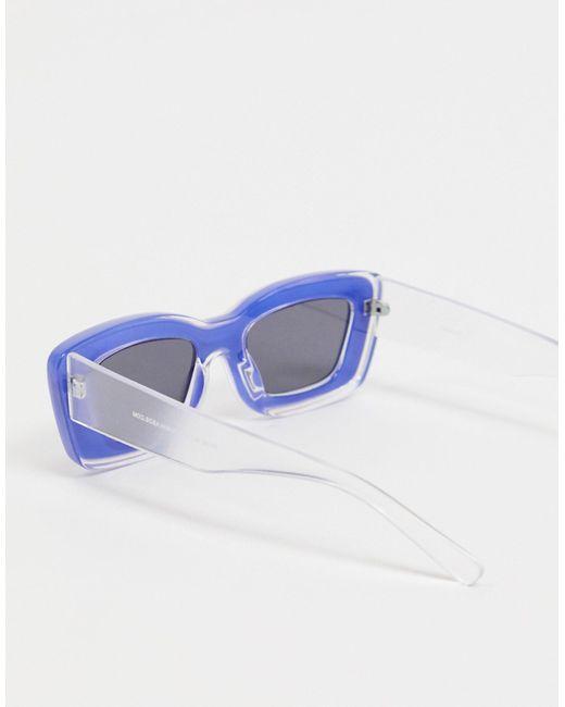 Occhiali da sole con montatura spessa smussata, colore trasparente e blu di ASOS in Blue
