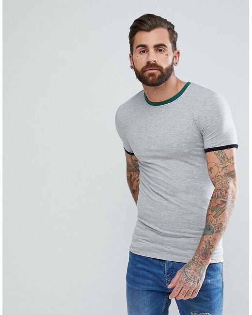 ASOS - Gray T-shirt With Contrast Ringer And Cuff for Men - Lyst