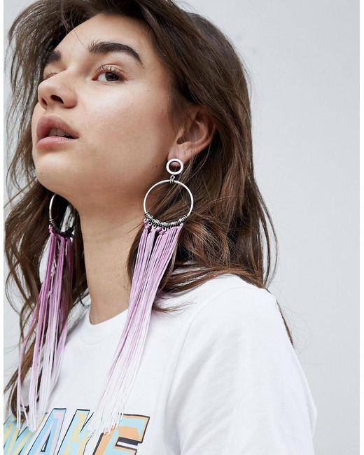 ASOS - Metallic Asos Statement Ombre Tassel Hoop Earrings - Lyst