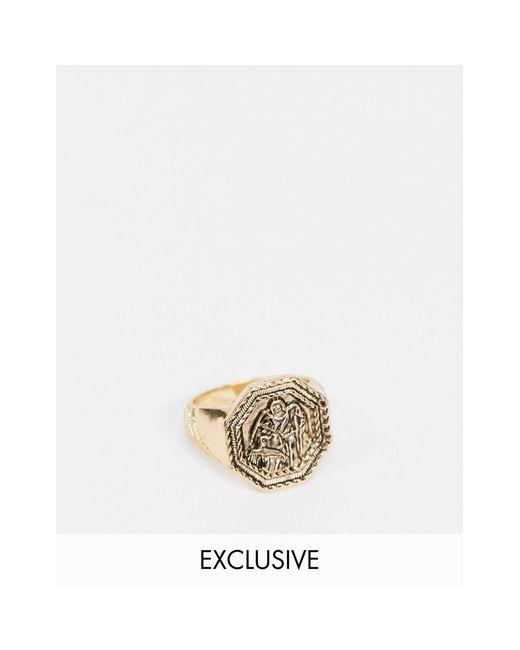 Золотистое Кольцо С Монетой Inspired-золотой Reclaimed (vintage) для него, цвет: Metallic
