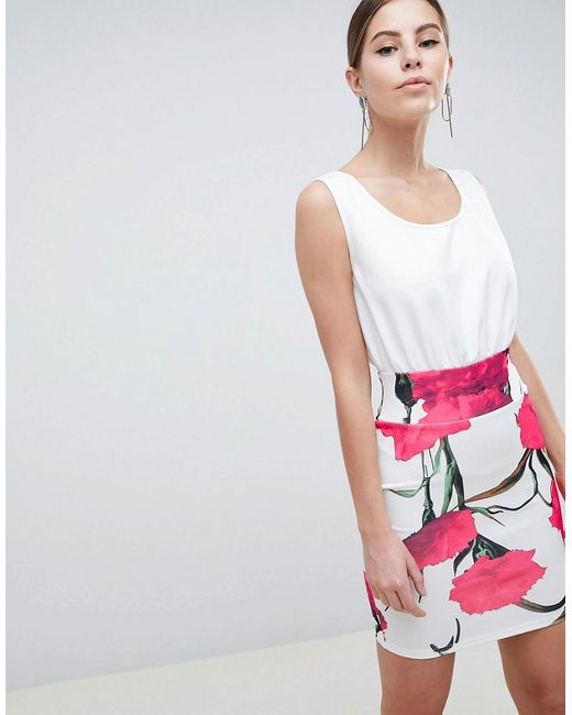 AX Paris - Multicolor 2-in-1 Cami Skater Dress With Large Floral Skirt - Lyst