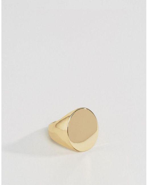 ASOS - Metallic Design Signet Ring In Gold for Men - Lyst