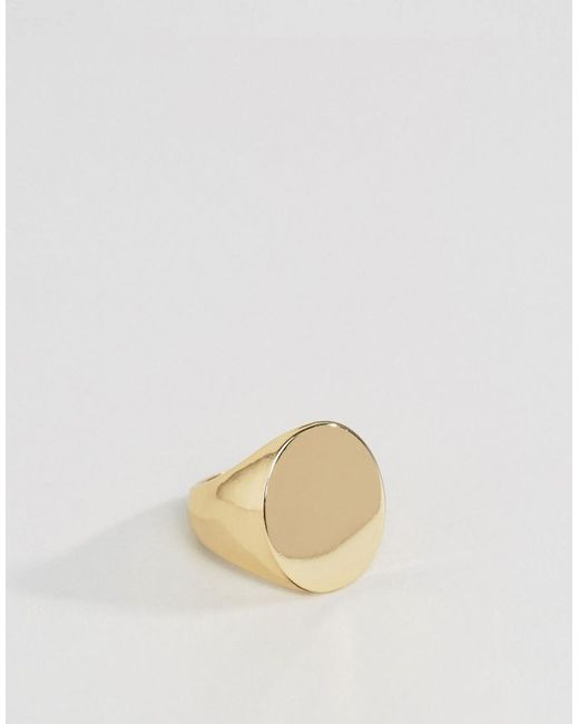ASOS DESIGN - Metallic Signet Ring In Gold Tone for Men - Lyst