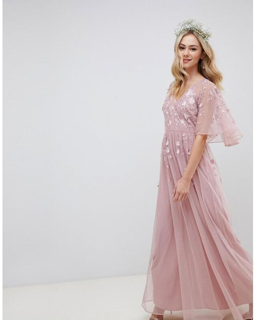 6420e3c1d36 ASOS - Pink Maxi Dress With Cape Sleeve In Embroidered Mesh - Lyst ...