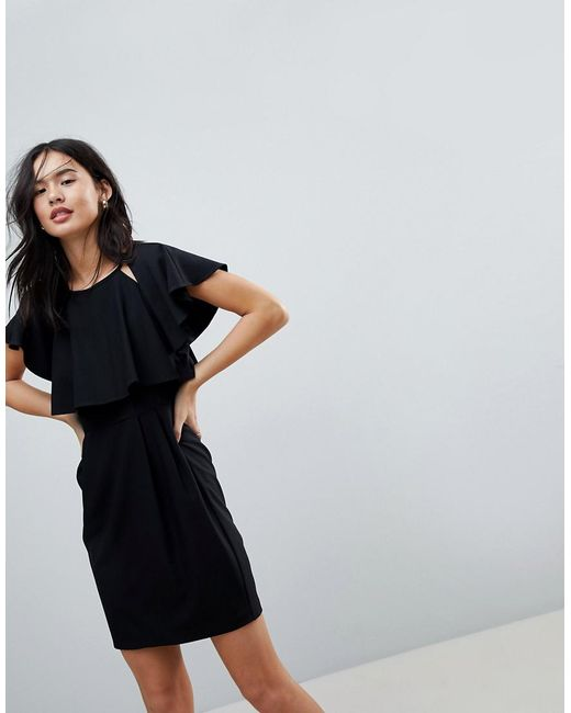ASOS   Black Double Layer Mini Wiggle Dress With Angel Sleeve   Lyst