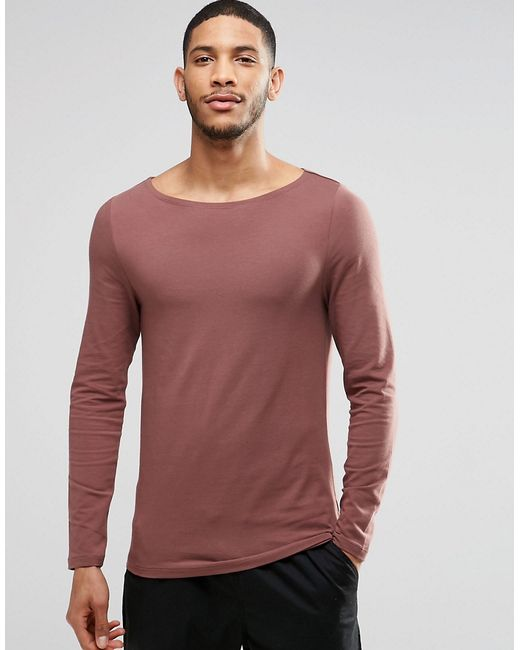 Asos Muscle Long Sleeve T Shirt With Boat Neck In Rust In