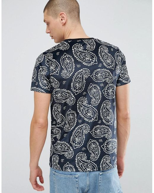 Lyst Asos T Shirt In Paisley Velour In Black For Men