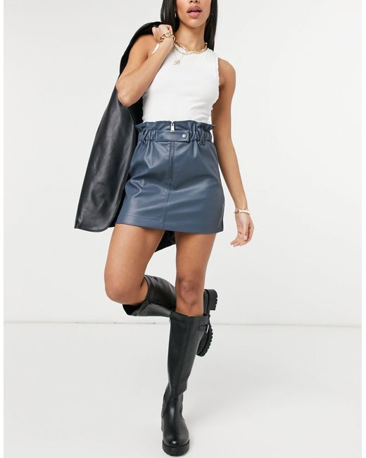 TOPSHOP Blue Faux Leather Mini Skirt