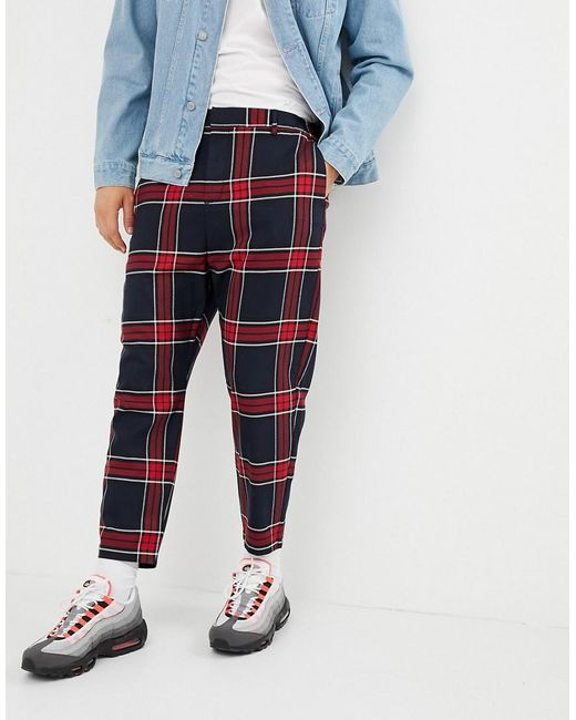 Bershka - Carrot Fit Check Trousers In Black And Red for Men - Lyst