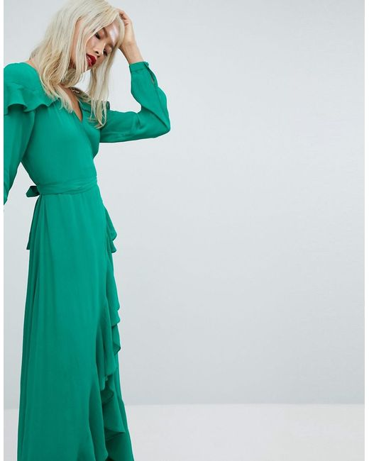 ASOS DESIGN - Green Maxi Dress With Ruffle Detail And Open Back - Lyst
