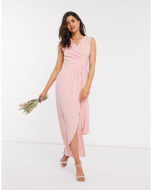 Платье Макси С Запахом И Плиссировкой Bridesmaid-розовый TFNC London, цвет: Pink