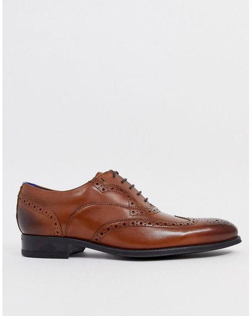 lower price with big sale so cheap Ted Baker Mitack Brogues In Tan Leather in Brown for Men - Lyst