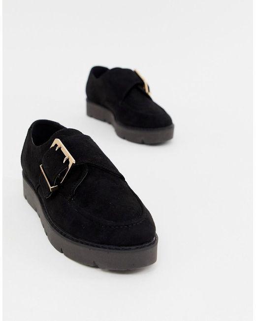 London Rebel - Black Chunky Flat Shoes - Lyst