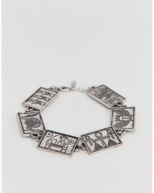 ASOS - Metallic Design Egyptian Style Chain Bracelet In Burnished Silver for Men - Lyst