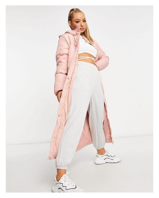 Threadbare Longline Puffer Coat-pink