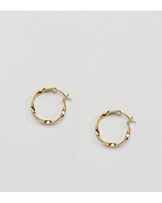 ASOS - Metallic Gold Plated Sterling Silver Twist Hoop Earrings - Lyst