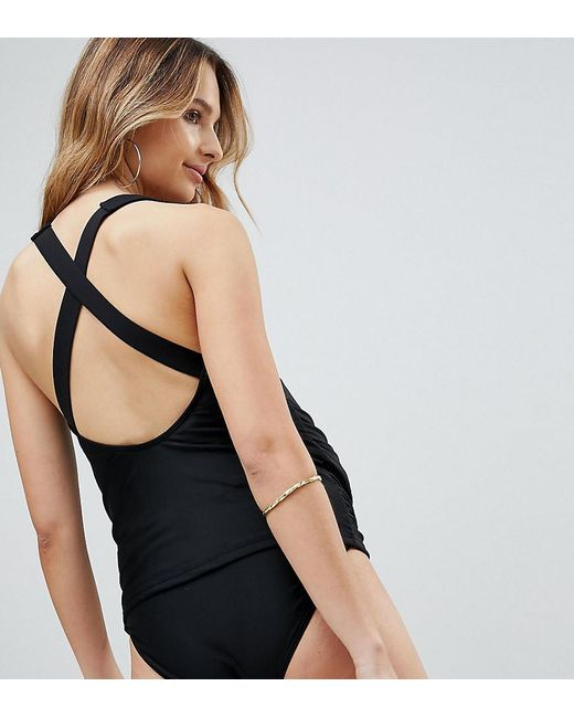 Wolf & Whistle - Maternity Strappy Black Tankini B-f Cup - Lyst