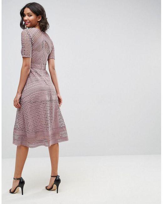 1b10234fefe ... ASOS - Blue Asos Premium Occasion Lace Midi Dress - Lyst