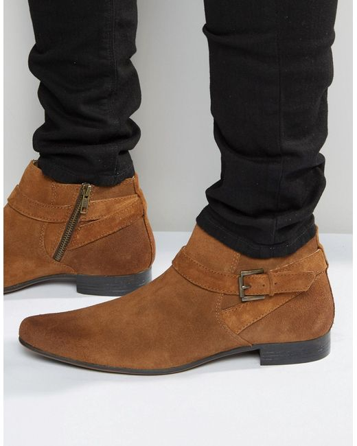 Asos Boots In Tan Suede With Buckle Strap Detail In Brown