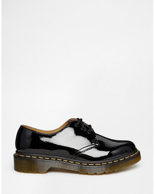 4553443d5 Dr. Martens 1461 Classic Black Patent Flat Shoes in Black - Lyst