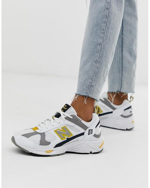 regard détaillé 699b7 32c08 Women's 878 White Yellow Chunky Sneakers