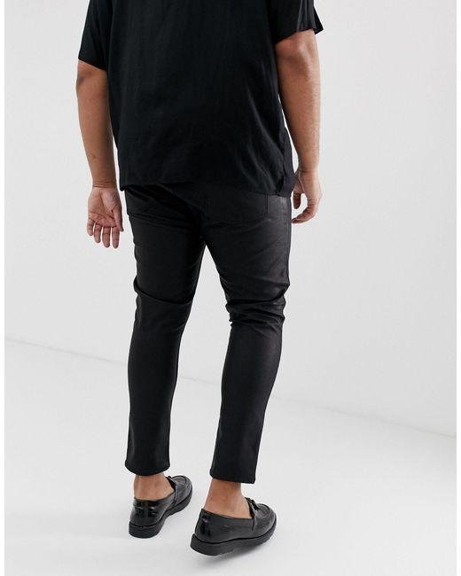 Plus - Jean super skinny en similicuir enduit ASOS pour homme en coloris Black