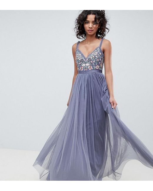 162877fd292a6 Needle & Thread - Blue Embroidered Bodice Cami Strap Maxi Dress In Vintage  Navy ...