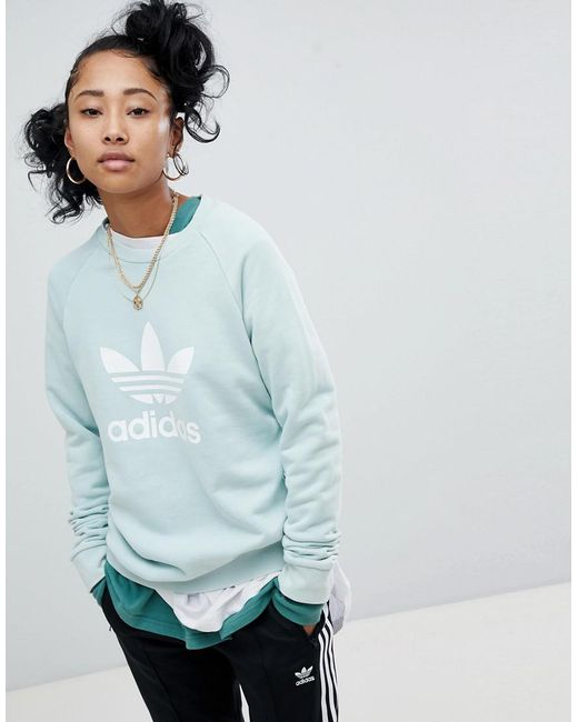 Adidas Originals - Green Adicolor Trefoil Oversized Sweatshirt In Mint - Lyst