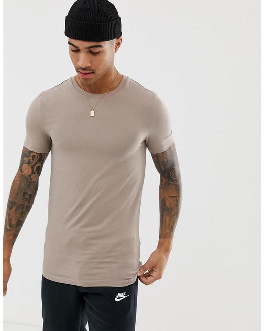 37a79ef63c2 ASOS - Natural Organic Muscle Fit T-shirt With Crew Neck In Beige for Men  ...