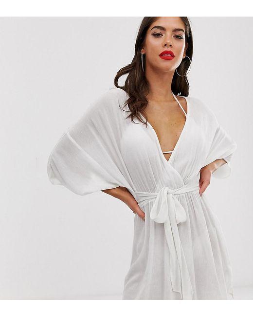 ce76dde316 ASOS - Asos Design Tall Plunge Tie Waist Kimono Sleeve Crinkle Beach Cover  Up In White ...
