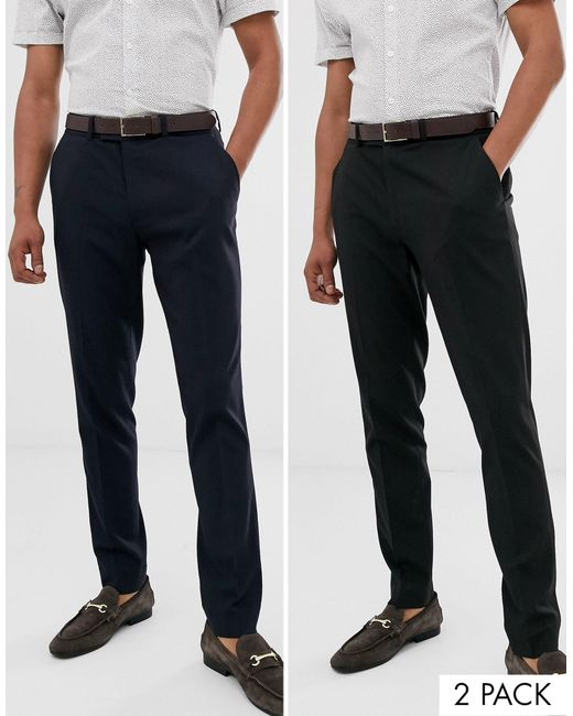 ASOS Black 2 Pack Skinny Smart Trousers for men