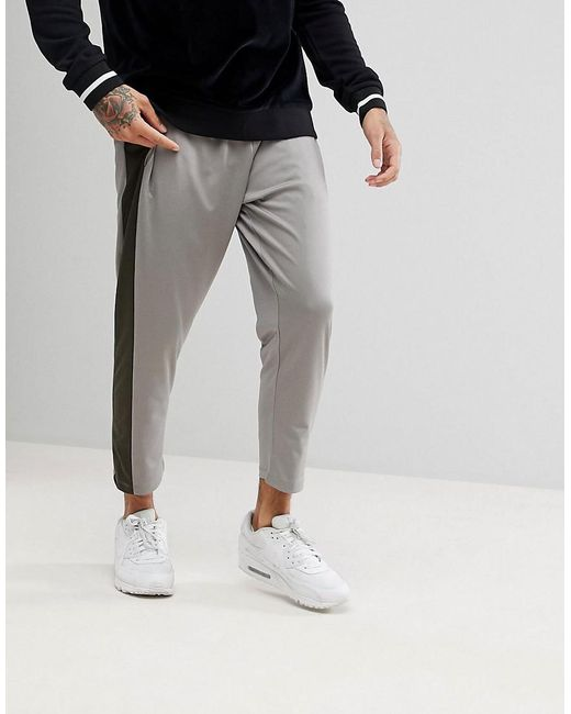 ASOS DESIGN - White Tapered Track Joggers With Colour Blocking for Men - Lyst