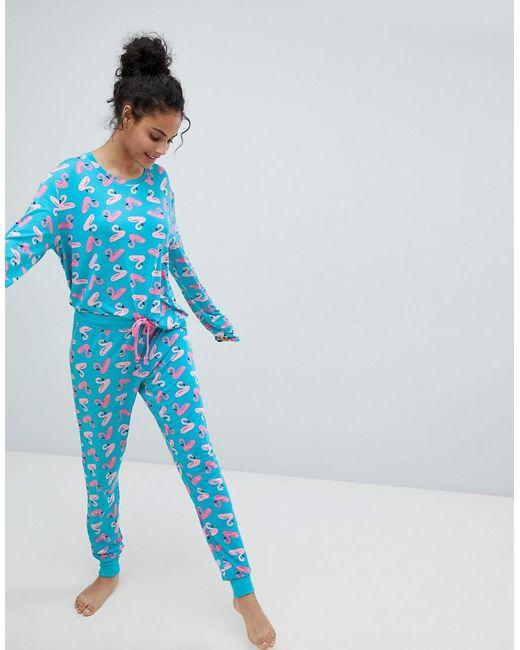 Chelsea Peers - Blue Inflatable Flamingo Long Pajama Set - Lyst