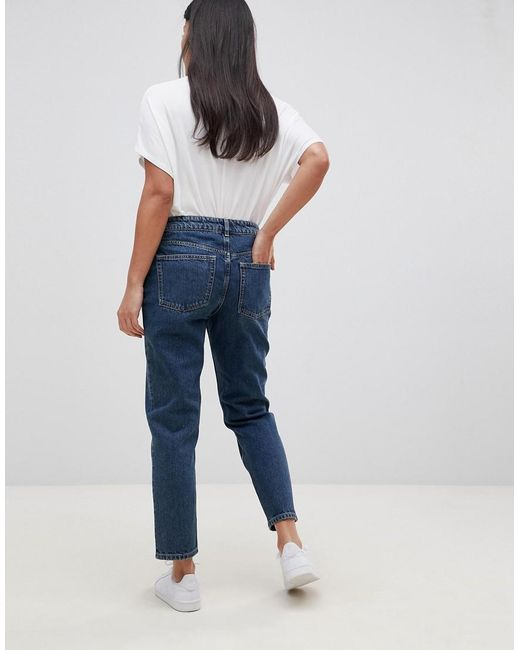 super popular premium selection new release Asos Design Maternity Recycled Florence Authentic Straight Leg Jeans In  London Blue With Under The Bump Waistband